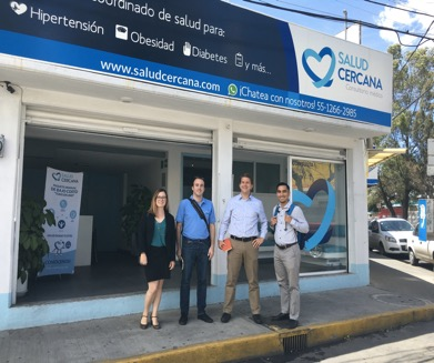 Linked and GP team outside the Salud Cercana clinic with founder Santiago Ocejo (far right)